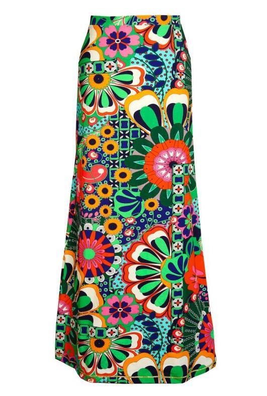 29fa5ab2c70270 Kleurige bloemen maxi-rok met hippie verlangens